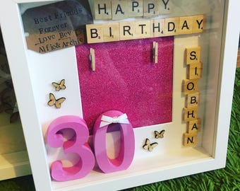 Personalised birthday box frame, Birthday frame, personalised gift, happy birthday, 30th birthday present