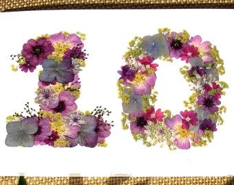 10th Anniversary Card, Husband 10th Anniversary, Daughter 10th Anniversary, Wife 10th Anniversary, Blank Card, English Pressed Flower PRINT