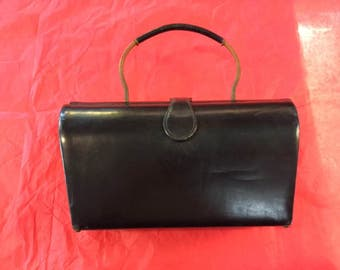 Black leather bucket purse