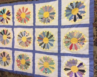 Old flour sack material quilt top