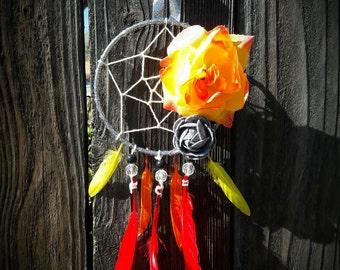 "5"" Tangerine Sunrise Orange Yellow & Red Dream Catcher FREE Shipping"