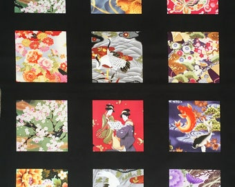 Japanese fabric squares - quilting squares - oriental fabric - Japanese print - geisha fabric - geisha panel - Japanese fabric