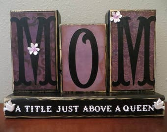 Mom Mother's Day Word Block Queen Shelf Sitter Love Gifts For Mom