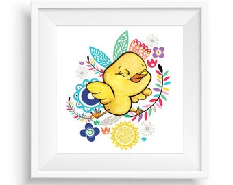 Sweet Flower Chick | Nursery Chick Print | Easter Print | Chick Decor | Chick Picture | Chick Art | Nursery Wall Art | Nursery Print