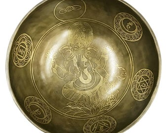 Hand Hammered Hand Etched Ganesh Singing Bowl/Gong With Stick and Cushion