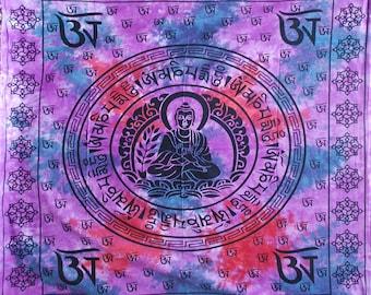 Beautiful Hand Made Tie DyeTibetan Buddha Throw(100% Cotton),Wall Hanging-Purple