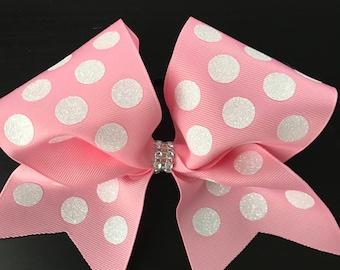 Pink Polka Dot Cheer Bow