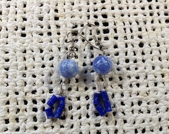 Blue fire agate and lapis lazuli earrings