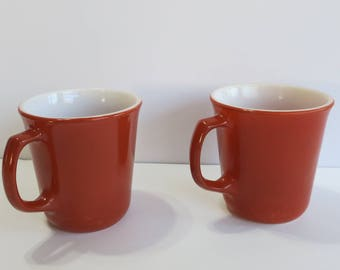 Vintage  Corning Coffee Cups, Set of Two Burnt Orange Corning Coffee Cups, Orange Corning Coffee Cups, Vintage Orange Coffe Cups - V158