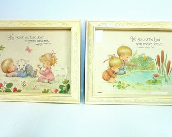 Pair of Vintage Pictures for Nursery or Child's Room, LIttle Girl and Boy Home Interiors Pictures. Psalm 23 and Psalm 104 - V134