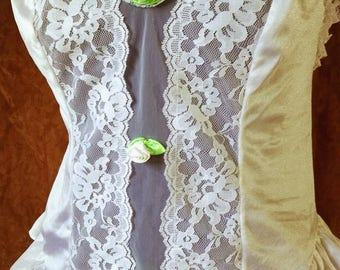 80s White Lace Teddy M
