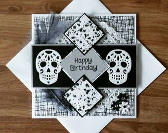 Gothic birthday card, goth card, sugar skull birthday, black and white card, goth style, skull birthday card,