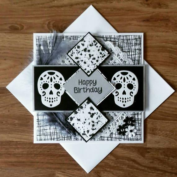 Gothic birthday card goth card sugar skull birthday black like this item bookmarktalkfo Gallery