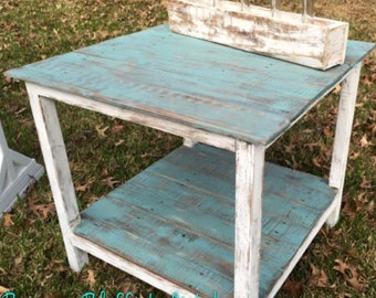 Distressed Reclaimed Wood End Table | Night Stand