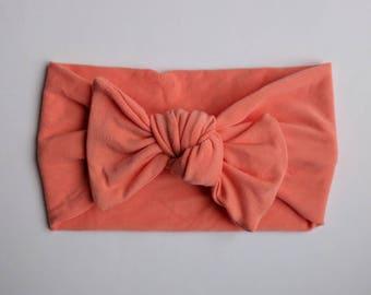 bow headband / knot bow headband / heandband for baby / headband for toddler / coral bow headband / jersey headband / oversize bow headband