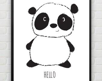 Nursery Wall Art Baby Panda, Art Print, Black and White, Illustration, Home Decor, Download, Digital Art Print, Animal Art, Print