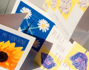 Happy Flower cards featuring hand-painted flowers and word play
