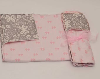Butterflies and Bows Flannel Burp Cloth Set