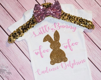 Baby Girl's Little Bunny Foo Foo Easter Onesie, Bodysuit, Toddler Easter, Easter Outfit, Easter Onesie, Easter Shirt, My First Easter