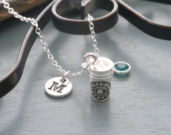 Coffee Necklace, Personalized Coffee Necklace, Silver Coffee Cup Necklace, Initial Necklace, Coffee Lover Jewelry, Coffee Lover Gifts