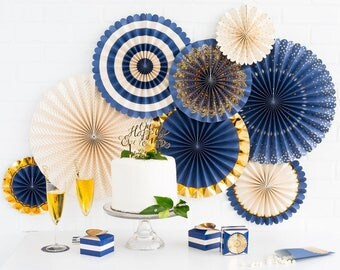 Navy and Gold Fan Decor Kit/ Deluxe Set Gold and Navy Fan Decor/ Fancy Navy Hanging Paper Fans/ Fancy Navy Decorations