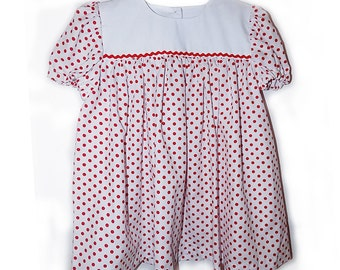 FINAL SALE White and red polka dot short sleeve dress, Size 3T.  PN-007