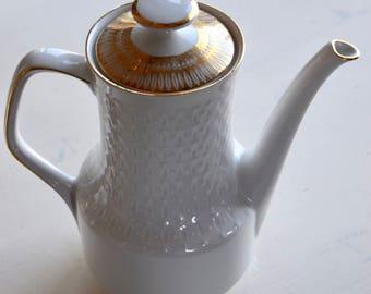 Vintage Porcelain Teapot, White Gold porcelain, Mitterteich Bavaria, Mid Century Modern Teapot, Vintage tea, Vintage German Porcelain Teapot