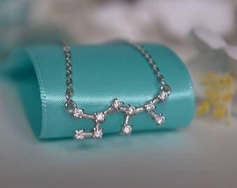 Sagittarius Constellation Sterling Silver/Stainless Steel Necklace, Constellation Necklace, Silver Necklace, Zodiac Necklace, Zodiac Jewelry