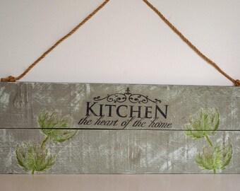 Pallet Art, Wall Hanging, Kitchen Art, Wood Panel, Shabby  Chic