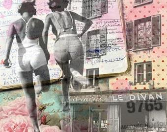 "Digital Art on canvas "" Every single memory "", Mixed Media art, Vintage art, Wall Art, Home decor"