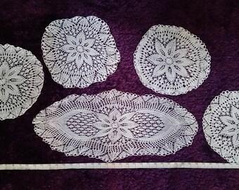 Crochet Table Runner Set, Hand Crochet Table Runner Set, Crochet Table Cloth Set, Crochet Tablecloth Set, Hand Knitted Tablecloth Set