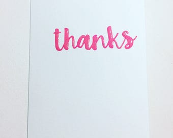 handmade card // thanks // thank you card // pink // glossy // minimalism // stationary