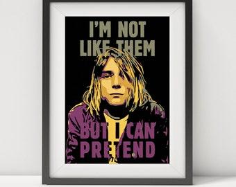 kurt cobain, kurt cobain poster, kurt cobain print, kurt cobain art, cobain lyrics, nirvana, nirvana poster, music poster,kurt cobain dumb