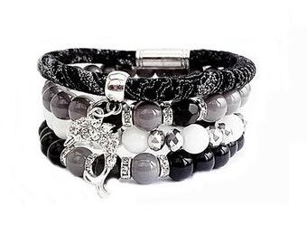 Set of Bracelets, Beaded Bracelet, Leather Bracelet, Womens Bracelet, Yoga Bracelet, Free shipping