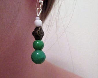 Green Beaded Earrings