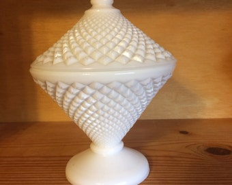 Vintage Westmoreland English Hobnail Milk Glass Compote / Candy Dish
