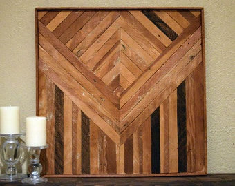 Reclaimed Wood Art- Recycled Wood- geometrical art- Shabby Chic- Rustic Farmhouse- Barn Wood