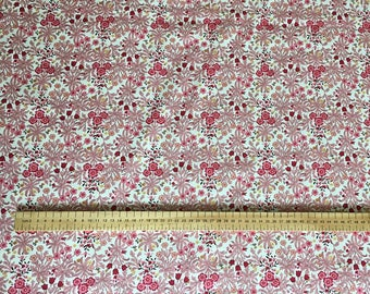 Floral Fabric 100% Cotton Red Pink White
