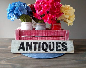 ANTIQUES farm house sign crafted with reclaimed wood and handmade