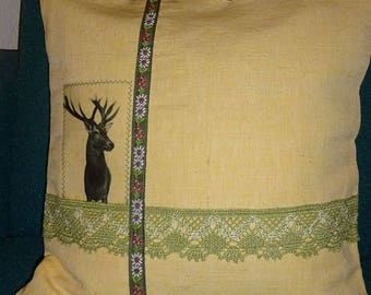 40 x 40 cm Cushion cover, antique linen, deer!