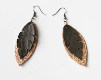 Brown Earrings - Leather Earrings - Leather Feather Earrings Statement Earrings - Feather Earrings - Ready to ship