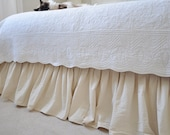 King size bed skirt -2 colors- Ruffled bed skirt -White/Ivory bed skirt - Linen bedding - Handmade bed skirt- Choose the drop #Mimosa#