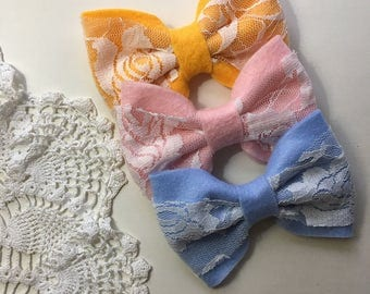 Wings of a Dream Lace & felt bows