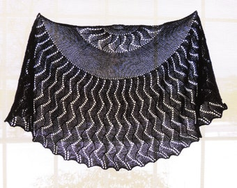 Hand Knit Wave and Tide shawl