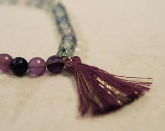 Genuine Fluorite Tassel Bracelet Semi Precious Stone Gemstone Healing Crystal Chakra Metaphysical Gift