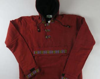 Fleece lined smock style cotton hooded jacket - made in Nepal - Large