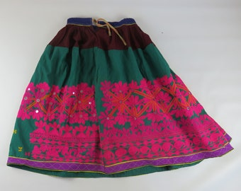 Authentic Vintage Indian skirt gypsy festival - 28 inch flexible waist