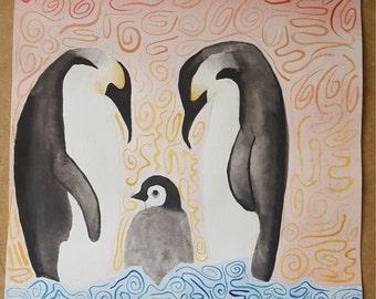 Penguin Watercolour Painting