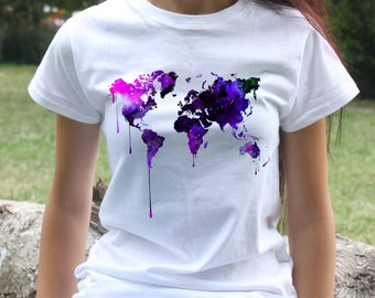 Map T-shirt - World Map Tee - Fashion women's apparel - Colorful printed tee - Gift Idea