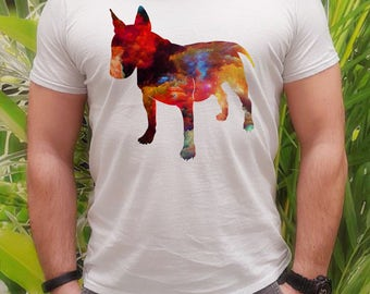 Bull terrier t-shirt - Colorful dog tee -  Fashion men's apparel - Colorful printed tee - Gift Idea